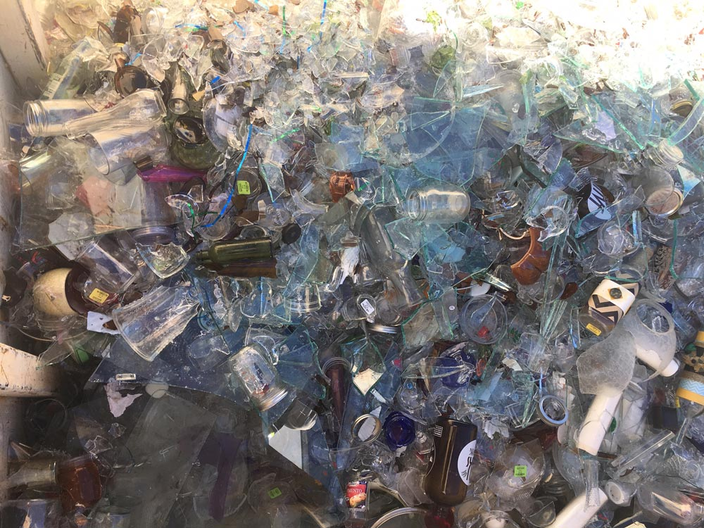 Discover Goodwill's Outlet collects glass for recycling, reducing landfill waste.