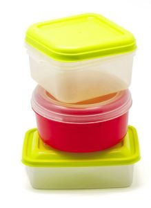 small containers for food on white background